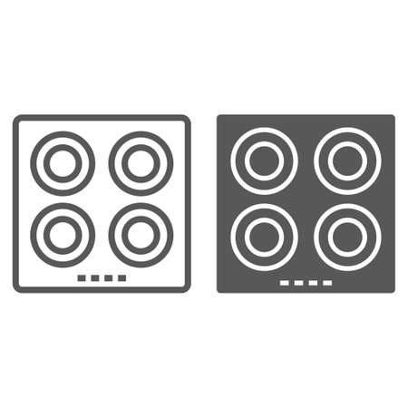 Electric hot plate line and glyph icon, kitchen and cooking surface, household sign vector graphics, a linear pattern on a white background, eps 10.