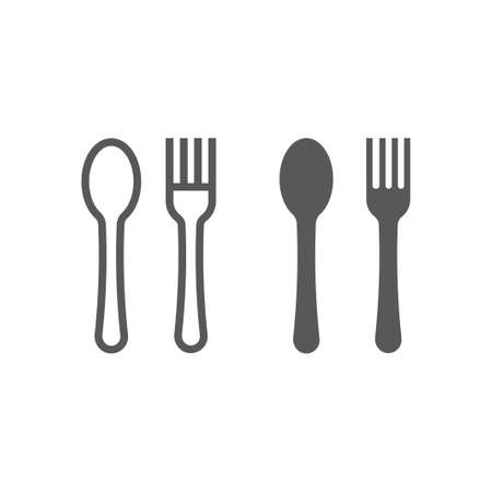 Fork and spoon line and glyph icon, kitchen and cooking, diner sign vector graphics, a linear pattern on a white background, eps 10. Иллюстрация