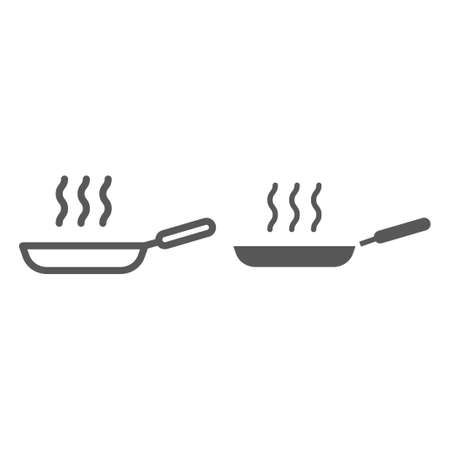 Frying pan line and glyph icon, kitchen and cooking, fry sign vector graphics, a linear pattern on a white background