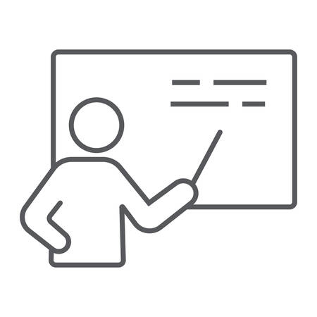 Teacher thin line icon, school and education, training sign vector graphics, a linear pattern on a white background, eps 10. Illustration