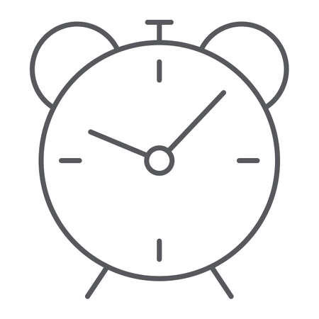 Alarm clock thin line icon, time and hour, deadline sign vector graphics, a linear pattern on a white background.