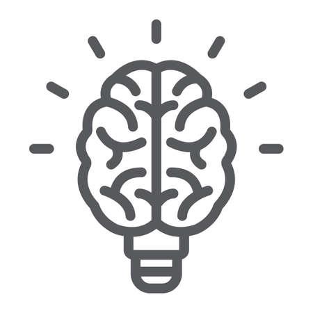 Icône de ligne de cerveau ampoule, école et éducation, graphiques vectoriels signe de connaissances, un dessin linéaire sur fond blanc, eps 10.