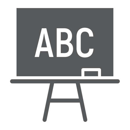 Blackboard glyph icon, school and education, board stand sign vector graphics, a solid pattern on a white background.