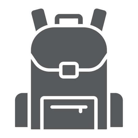 School bag glyph icon, school and education, backpack sign vector graphics, a solid pattern on a white background, eps 10. Banco de Imagens