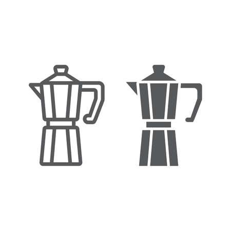 Linea moka e icona glifo, caffè e caffetteria, grafica vettoriale segno macchina per il caffè, un modello lineare su sfondo bianco