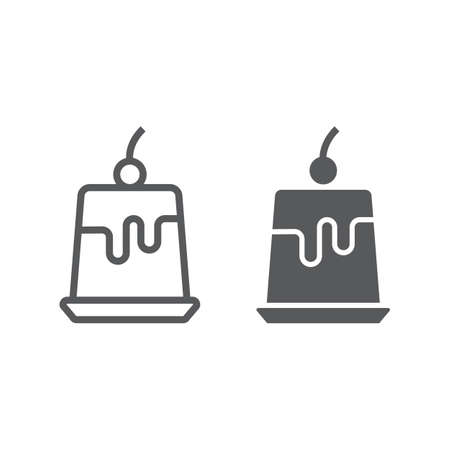 Pudding jelly line and glyph icon, sweet and tasty, dessert sign vector graphics, a linear pattern on a white background