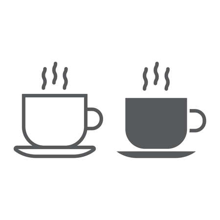 Americano line and glyph icon, coffee and cafe, hot coffee sign vector graphics, a linear pattern on a white background