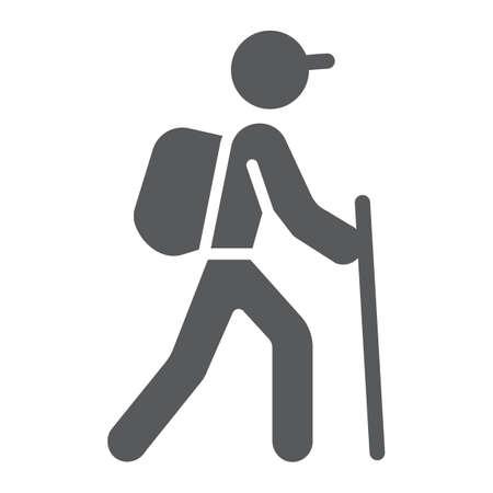 Icône de glyphe de randonnée, voyage et tourisme, graphiques vectoriels de signe de randonneur touristique, un dessin linéaire sur fond blanc, eps 10.