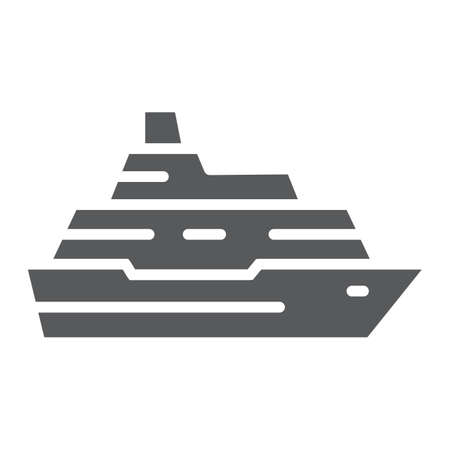 Cruise ship glyph icon, travel and tourism, boat sign vector graphics, a solid pattern on a white background