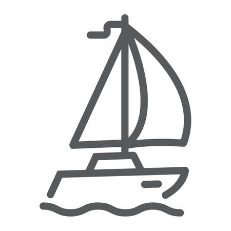 Sail yacht line icon, travel and tourism, sailboat sign vector graphics, a linear pattern on a white background, eps 10.