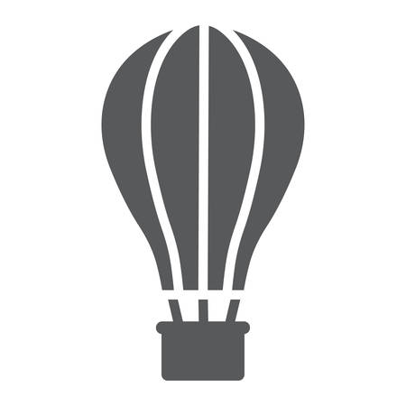 Hot Air Ballon glyph icon, travel and tourism, airship sign vector graphics, a linear pattern on a white background