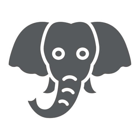Elephant glyph icon, animal and zoo, mammal sign vector graphics, a solid pattern on a white background, eps 10.