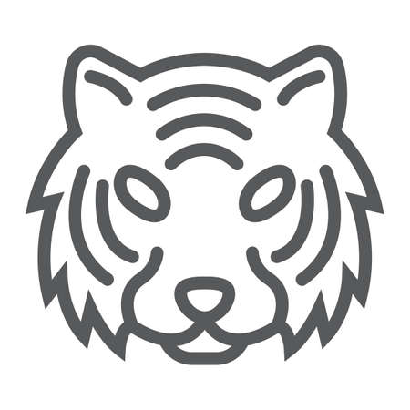 Tiger line icon, animal and zoo, cat sign vector graphics, a linear pattern on a white background, eps 10. Vectores