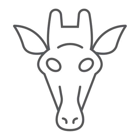Giraffe thin line icon, animal and zoo, mammal sign vector graphics, a linear pattern on a white background, eps 10.