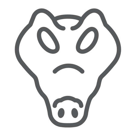 Crocodile line icon, animal and zoo, reptile sign vector graphics, a linear pattern on a white background, eps 10.