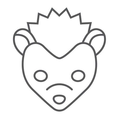 Hedgehog thin line icon, animal and zoo, pet sign vector graphics, a linear pattern on a white background, eps 10. Illustration