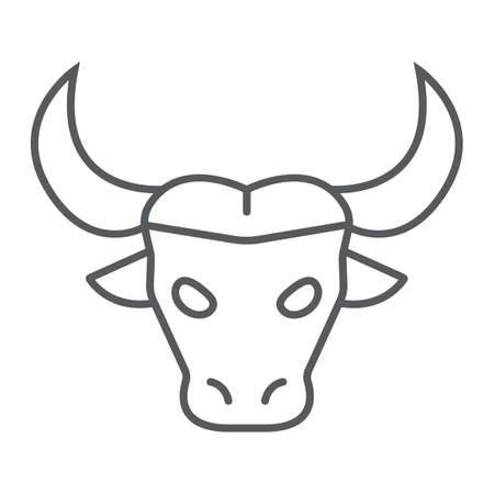 Buffalo thin line icon, animal and zoo, cattle sign vector graphics, a linear pattern on a white background, eps 10.
