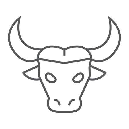 Icône de fine ligne de buffle, animal et zoo, graphiques vectoriels de signe de bétail, un dessin linéaire sur fond blanc, eps 10.
