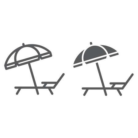 Linea ombrellone e lettino e icona glifo, viaggi e turismo, ponte con grafica vettoriale segno ombrellone, un motivo lineare su sfondo bianco, eps 10.