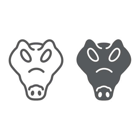 Crocodile line and glyph icon, animal and zoo, reptile sign vector graphics, a linear pattern on a white background, eps 10. 向量圖像