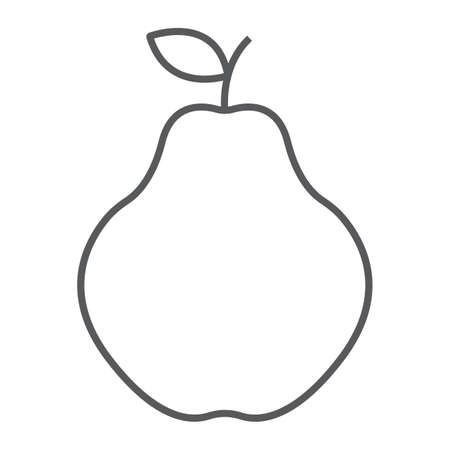 Quince thin line icon, fruit and vitamin, tropical sign, vector graphics, a linear pattern on a white background