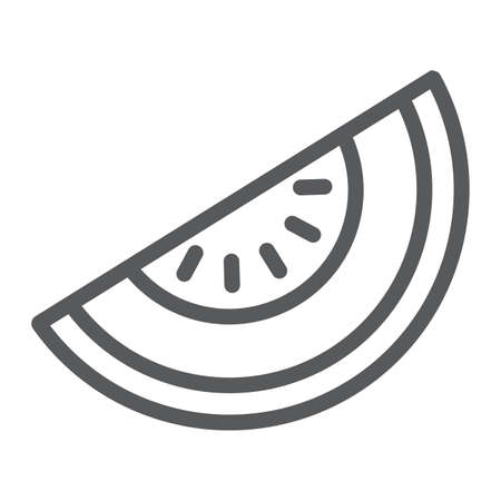 Melon line icon, fruit and vitamin, diet sign, vector graphics, a linear pattern on a white background
