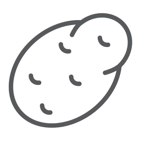 Potato line icon, vegetable and diet, vegetarian sign, vector graphics, a linear pattern on a white background
