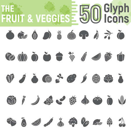 Fruit and Vegetables glyph icon set, vegetarian symbols collection, vector sketches, logo illustrations, healthy a solid pictograms package isolated on white background, eps 10. Ilustração