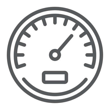 Speedometer line icon, data and analytics, velocity sign, vector graphics, a linear pattern on a white background, eps 10.