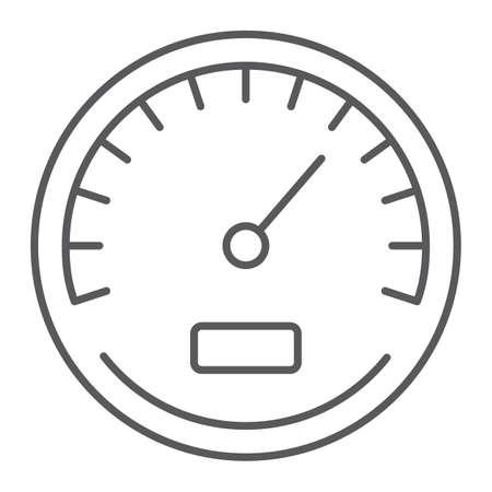 Icona della linea sottile del tachimetro, dati e analisi, segno di velocità, grafica vettoriale, un modello lineare su sfondo bianco, eps 10.