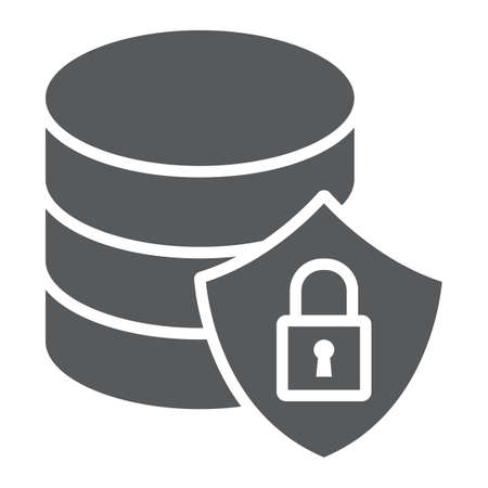 Database protection glyph icon, data and analytics, backup sign, vector graphics, a solid pattern on a white background, eps 10.  イラスト・ベクター素材