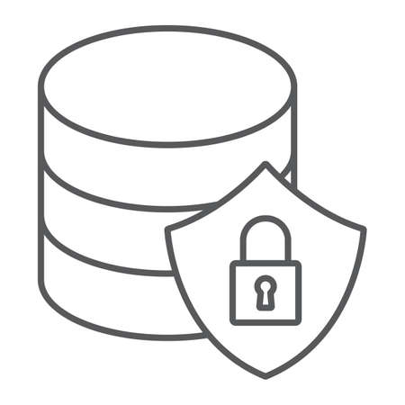 Database protection thin line icon, data and analytics, backup sign, vector graphics, a linear pattern on a white background, eps 10.