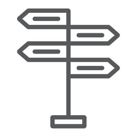 Signpost line icon, decision making and guidepost, arrow sign, vector graphics, a linear pattern on a white background, eps 10. Illustration