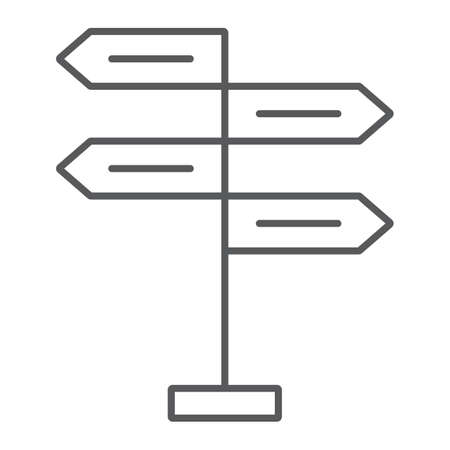 Signpost thin line icon, decision making and guidepost, arrow sign, vector graphics, a linear pattern on a white background, eps 10. Illustration