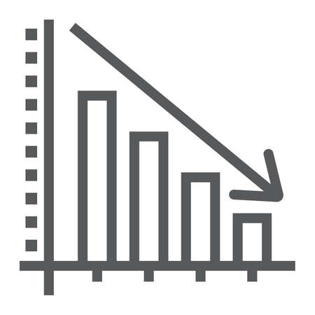 Decrease line icon, reduction and analytics, chart sign, vector graphics, a linear pattern on a white background, eps 10.