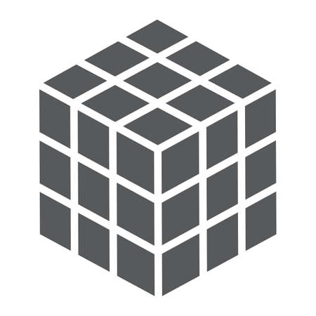 Rubik cube glyph icon, puzzle and olap, square sign, vector graphics, a solid pattern on a white background, eps 10.