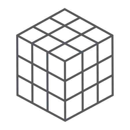 매직 큐브 얇은 라인 아이콘, 퍼즐 및 olap, 사각형 기호, 벡터 그래픽, 흰색 배경에 선형 패턴, 분기 EPS 10.