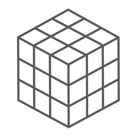 Rubik cube thin line icon, puzzle and olap, square sign, vector graphics, a linear pattern on a white background, eps 10.