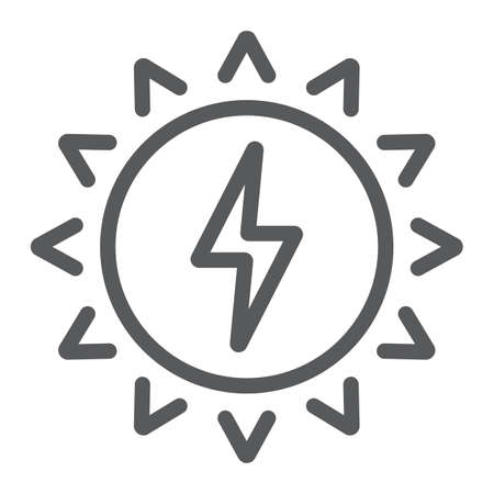 Ikona linii energii słonecznej, ekologia i energia, znak zielonej energii, grafika wektorowa, liniowy wzór na białym tle, eps 10 Ilustracje wektorowe