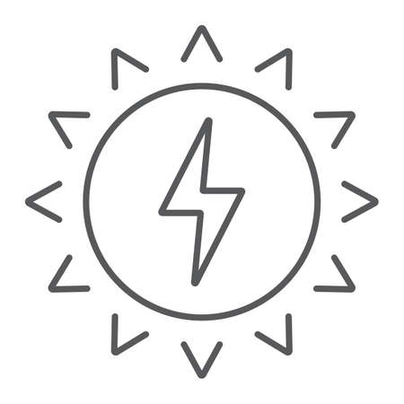 Solar energy thin line icon, ecology and energy, green energy sign, vector graphics, a linear pattern on a white background, eps 10 Иллюстрация