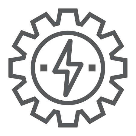 Versnelling met lijn bliksempictogram, ecologie en energie, ontwikkeling van energie-teken, vector graphics, een lineair patroon op een witte achtergrond, eps 10.