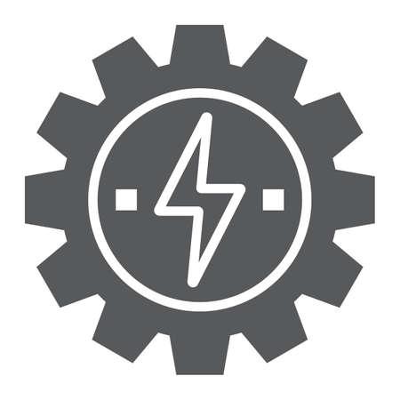 Versnelling met bliksem glyph pictogram, ecologie en energie, ontwikkeling van energie-teken, vector graphics, een solide patroon op een witte achtergrond, eps 10. Vector Illustratie
