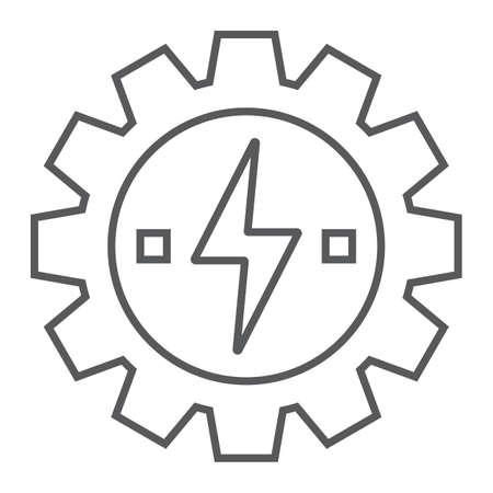 Versnelling met het pictogram van de dunne lijn bliksem, ecologie en energie, ontwikkeling van energie-teken, vector graphics, een lineair patroon op een witte achtergrond, eps 10.