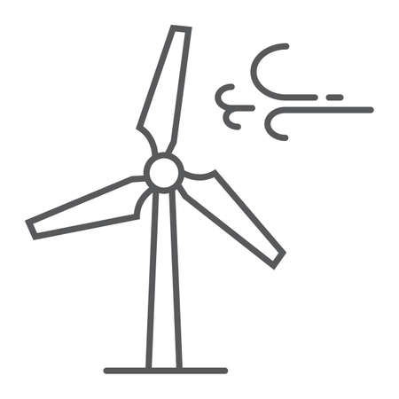 Wind turbine thin line icon, ecology and energy, windmill sign, vector graphics, a linear pattern on a white background, eps 10.