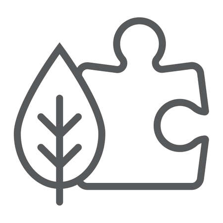 Puzzle with leaf line icon, ecology and energy, environmental solutions sign, vector graphics, a linear pattern on a white background, eps 10.