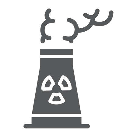 Nuclear power station glyph icon, ecology and nuclear energy, dangerous waste sign, vector graphics, a solid pattern on a white background