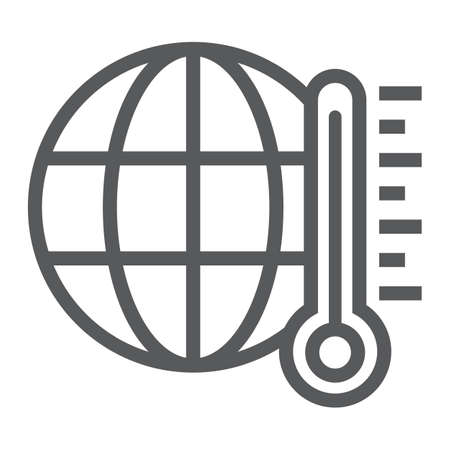 Global warming line icon, ecology and energy, climate sign, vector graphics, a linear pattern on a white background, eps 10.