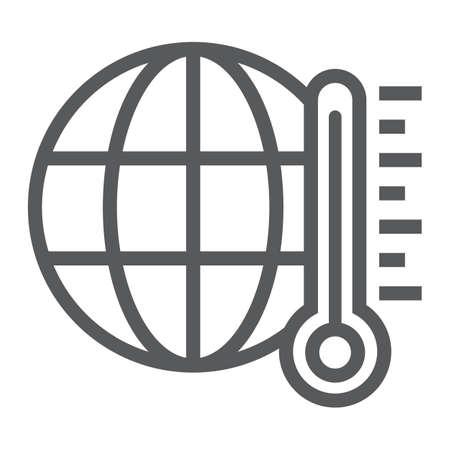 Icona della linea di riscaldamento globale, ecologia ed energia, segnale climatico, grafica vettoriale, un modello lineare su sfondo bianco, eps 10. Vettoriali