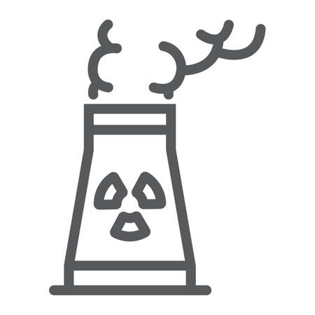 Nuclear power station line icon, ecology and nuclear energy, dangerous waste sign, vector graphics, a linear pattern on a white background, eps 10.
