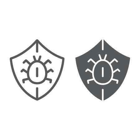 Antivirus line and glyph icon, security and protection, shield sign, vector graphics, a linear pattern on a white background Ilustração